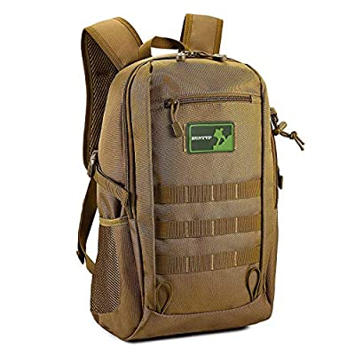 Huntvp 20L Mini Daypack Military MOLLE Backpack Rucksack Gear Tactical Assault Pack Student School Bag for Hunting Camping Trekking Travel (Brown-25L)