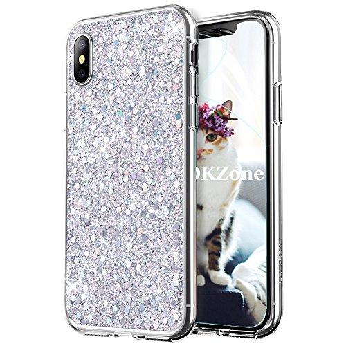OKZone Cover iPhone X, Custodia Lucciante con Brillantini Glitters Ultra Sottile Designer Case Cover per Apple iPhone X 5.8 Pollici (Argento)
