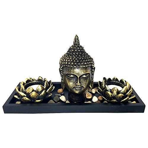Tabletop Zen Rock Garden with Buddha and Tea Light Candle Holder - (11'x4.5'x5')