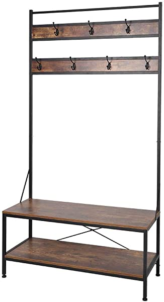 EBTOOLS 40 X 17 1 X 72 4 Inches Vintage Coat Rack Shoes Bench Hall Tree Entryway Storage Shelf Bench With 7 Coat Hooks And 2 Tiers Shelves Iron Frame