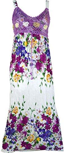 Guru-Shop Boho Sommerkleid, Krinkelkleid, Strandkleid Hippie Chic, Damen, Flieder, Synthetisch, Size:38, Lange & Midi-Kleider Alternative Bekleidung