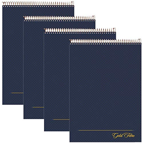 """AMPAD Gold Fibre Project Planner, Top-Wire Bound, 8-1/2"""" x 11-3/4"""", Project Rule, Navy Cover, 70 Sheets (20-815) (4)"""