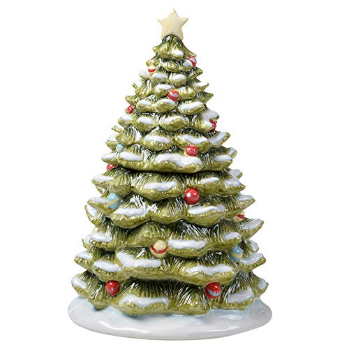 Certified International Evergreen Christmas Cookie Jar, Multicolored
