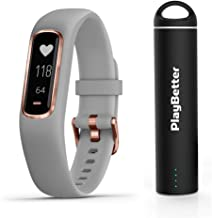PlayBetter Garmin vivosmart 4 (Gray/Rose Gold, Small/Medium) Smart Activity Tracker Power Bundle Portable Charger | Fitness Activity Tracker | Heart Rate