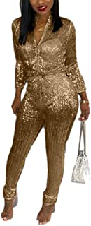 7f61122f444bf LKOUS Women Sexy Feather Sparkly Shiny Long Sleeve Zipper Bodycon Long Pans  Jumpsuit Clubwear Romper S