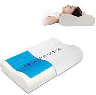 Gluckluz Memory Foam Pillow Cervical Contour Bed Pillowcase Cool Gel Neck Orthopedic Pillow with Removable Washable Cover ...