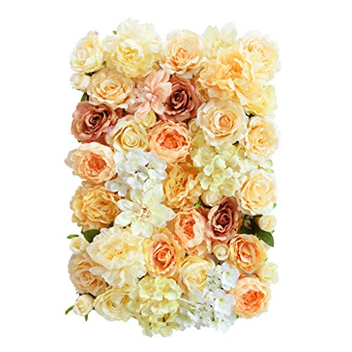 Ping- Panel De Pared De Flores Artificiales 40x60cm / Pieza, Panel De Pared Pétalo Rosa Hortensia Simulación Underframe De Plástico Suave Interior Casa Colgante Pared Floral 4 Colores