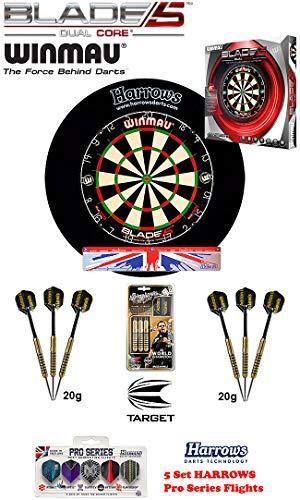 Winmau Blade 5 Dual Core + Harrows Surround schwarz + 2 Set Adrian Lewis Darts + Abwurflinie + 5er Set Flights
