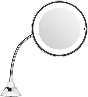 Intercorey Mirror倍率7インチグースネックメイクアップラウンドバニティミラー家庭用浴室使用超強力吸盤