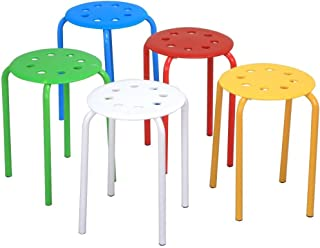 Topeakmart Set of 5 Classroom Stackable Stools for Kids Students Plastic Stack Stools Blue/Green/Red/White/Yellow Nesting Bar Stools Set 17.3in Height