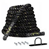 KINGSO Battle Rope 1.5 Inch Heavy Battle Exercise Training Rope 30ft Length Workout Rope 100% Dacron Fitness Rope for Strength Training Home Gym Outdoor Cardio Workout, Anchor Included