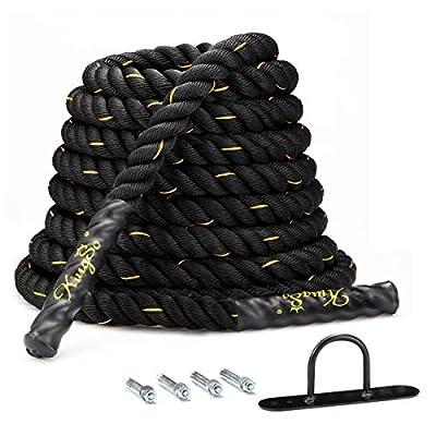 Amazon - Save 25%: KingSo Battle Rope 1.5 Inch Heavy Battle Exercise Training Rope 30ft Lengt…