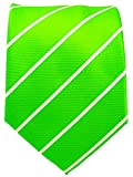Green Pencil Stripe Ties for Men - Woven Necktie - Lime Green and White Wedding ties for Groomsmen