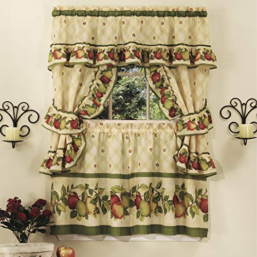 """PowerSellerUSA 5-Piece Complete Window Kitchen Curtain Cottage Set with Tier Panels, Valance with Attached Swaggers and Tiebacks - 57"""" (W) x 24"""" (L), Apple Vines"""