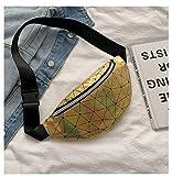 riñonera Bolso Multifuncional de Moda Bolso de Hombro láser Reflectante Bolso de Cintura para Dama - xin zuan Huang jin