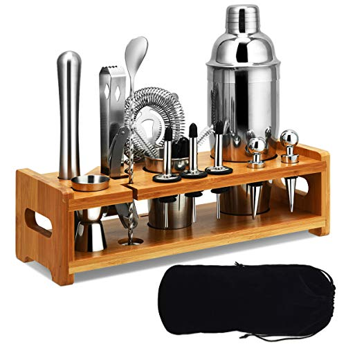 Tangkula 23 PCS Stainless Cocktail Shaker, Cocktail Shaker Set, Stainless Steel Bartender Kit With Sleek Bamboo Stand and Velvet Carry Bag, Ultimate Drink Mixing Adventure