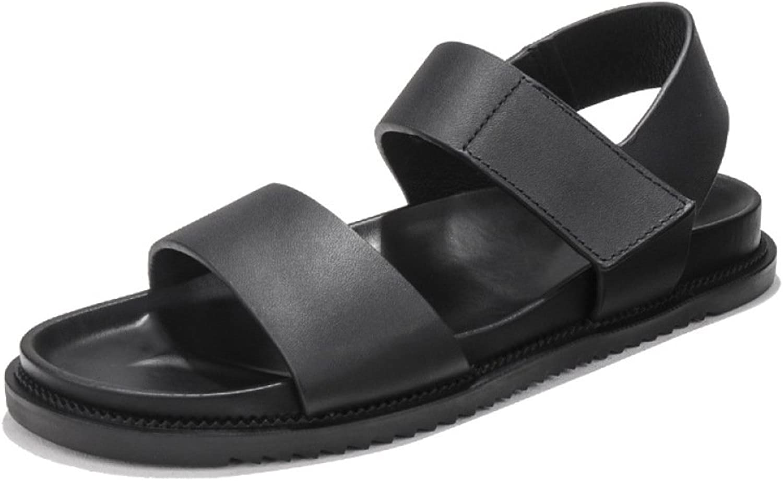 LEDLFIE Men's Beach shoes Summer Velcro Platform Slip Casual Roman Sandals,Black-39