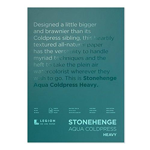 Legion Stonehenge Aqua Heavy Watercolor Block, 300lb, Cold Press, 10 by 14 Inches, White, 10 Sheets (L21-SQC300WH1014)