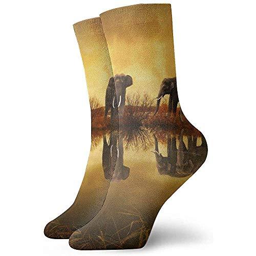 iuitt7rtree Damen/Herren Sportsocken, Custom Novelty Socken, Funny Socken, Halloween Cosplay Socken, Casual Crew Socken, Thailand Elephants 30CM Fußball Socken Classic Socken Tube Socken