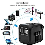Reiseadapter Reisestecker Universal Travel Adapter USB Reiseadapter Weltweit Steckenadapter USB Stecker Steckdose Adapter mit 3 USB Ports+Type C für 224 Ländern Europa UK Australien USA China - 5