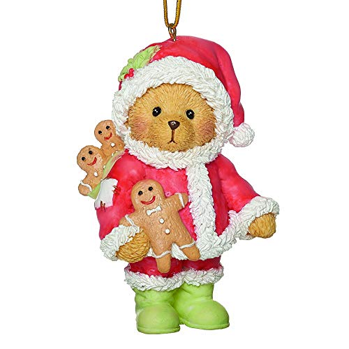 Roman Cherished Teddies, Santa Teddy Bear Ornament, 3.25' H, Resin and Wollastonite, Durable, Collectible Decoration, Decorative Figurine, Home Décor