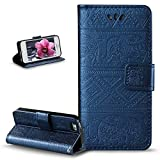 iPhone 5S Case,iPhone 5 Case,iPhone SE Case,ikasus Embossing Cat Butterfly Flower Tree PU Leather Fold Wallet Pouch Case Wallet Flip Stand Credit Card ID Holder Case Cover for iPhone 5S 5 SE,Navy Blue