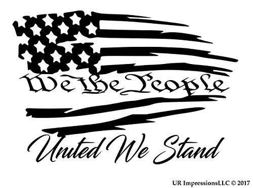 UR Impressions Blk We The People United We Stand - Tattered American Flag Decal Vinyl Sticker Graphics Car Truck SUV Van Wall Window Laptop|Black|7.5 X 5.1 Inch|URI490-B