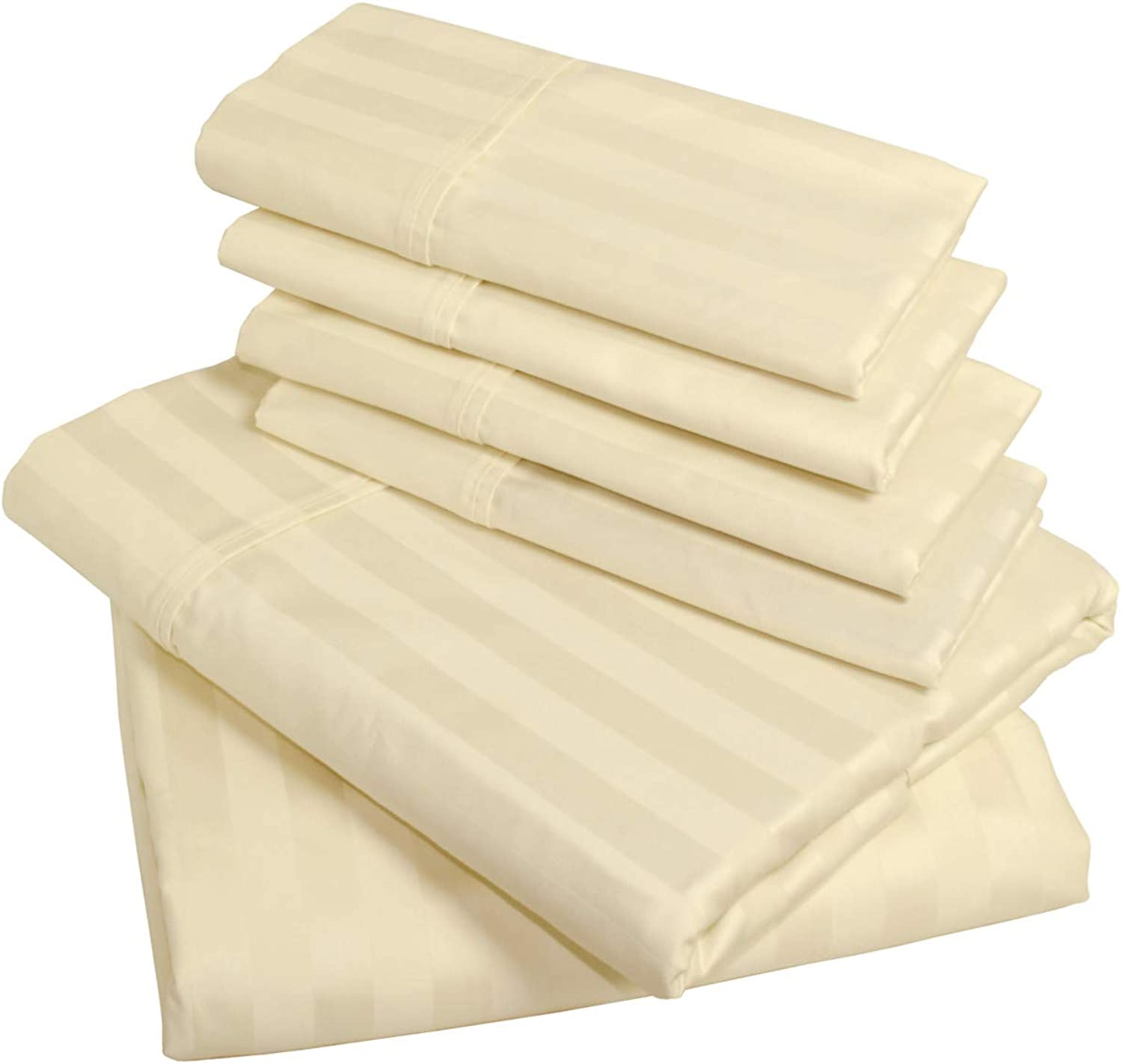 American Pillowcase 100% Egyptian Cotton Luxury Striped 540 Thread Count 6-Piece Sheet Set with Wrinkle Guard - King, Ivory