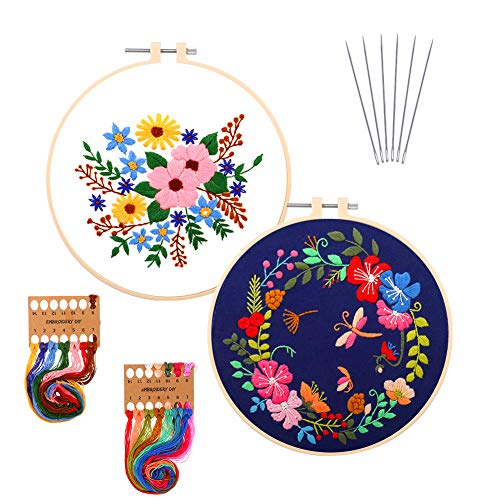 lorelo 2 Pieces Embroidery Starter Kit Cross Stitch Set Including Embroidery Cloth with Pattern, Bamboo Embroidery Hoop Color Threads and Tools Kit