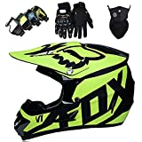 Casco para Motocicletas Infantiles, Casco Completo de Casco de Casco Completo Conjunto de Adultos Unisex Professional Motocross Set con Gafas Gloves Máscara,Green-XL:58~59cm