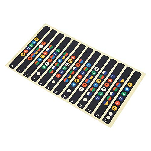 2 Stück Gitarren Noten Aufkleber Gitarrengriffbrett Sticker Gitarrennoten Noten für 6 Saiten Akustik- und E-Gitarre