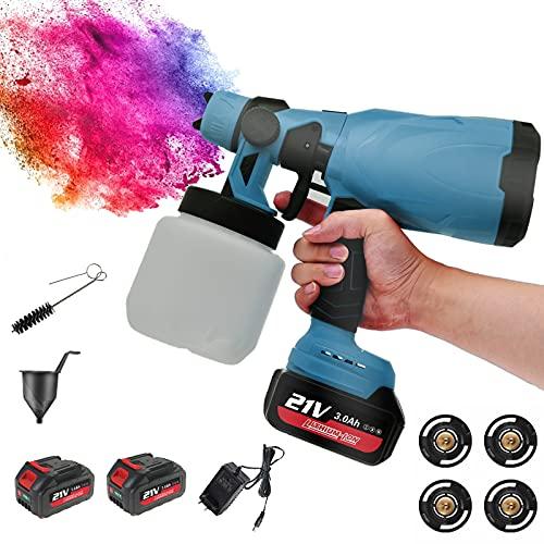 RYUNQ Akku Sprühpistole mit 2 x 3Ah Lithium-Batterien 800ml Farbbecher, Elektrische Farbspritzpistole mit akku 21V, Spritzpistole Farbspritzgerät für Zäune, Metall, Wand, Decke Holz, 3 Sprühmuster