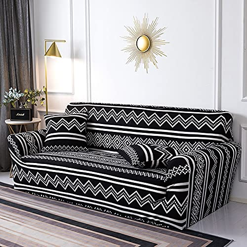 WXQY Funda de sofá geométrica elástica para Sala de Estar, Paquete Ajustado, Funda de sofá con Todo Incluido, Funda de sofá Modular, Funda de sofá A20, 4 plazas
