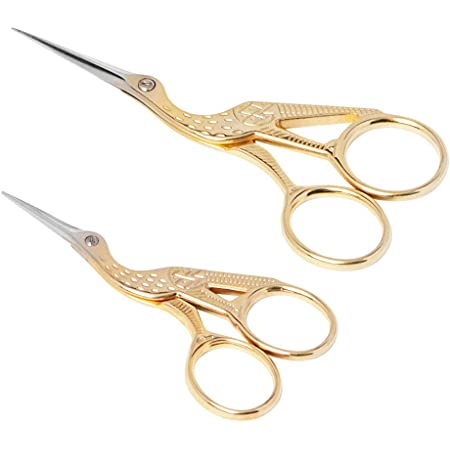 Asdirne Embroidery Scissors, Set of 2, Small Crane Sewing Scissors, Stainless Steel, Vintage Style, Suitable for Embroidery, Needlework, Sewing, DIY Crafts and Daily Use (Gold, 3.6inch+4.5inch)