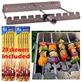 Keep on Turning 9 Skewer Automatic Rotating Rotisserie Rack with Adjustable RPM Motor for Gas Grills Accessory Attachment Stainless Steel incl. 20 Skewers