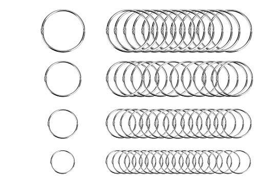 40PCS Loose Leaf Binder Rings Assorted Sizes (Inner Diameter 1, 1.25, 1.5, 2 inch) Office Book Rings, Nickel Plated Steel Binder Rings, Key Rings, Metal Book Rings, for School,Sliver