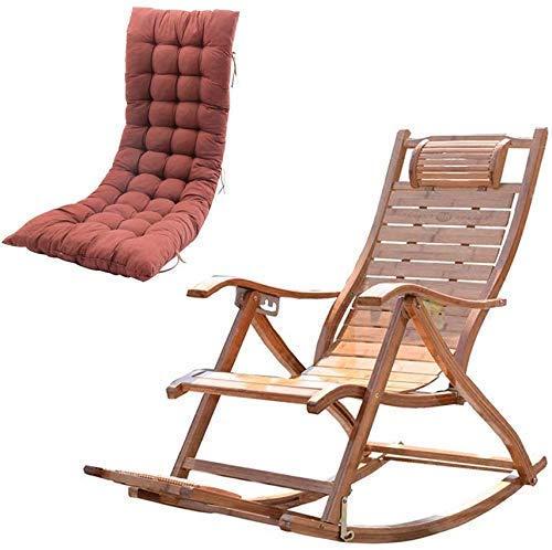 FGVBC Tumbona Sillas de Camping Silla Mecedora de bambú Ocio Plegable Balcón Sillón reclinable Anciano Ajustable Relax Tumbonas de Sol con Respaldo Alto y Masaje de pies Tablero reclinable