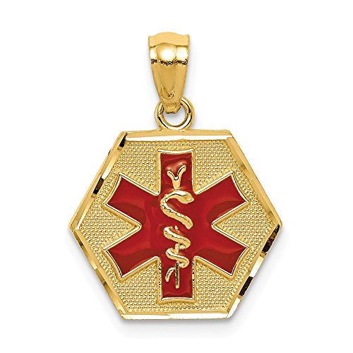 14k Yellow Gold Red Enameled Medic Id Pendant Charm Necklace Medical Man Fine Jewellery For Dad Mens Gifts For Him