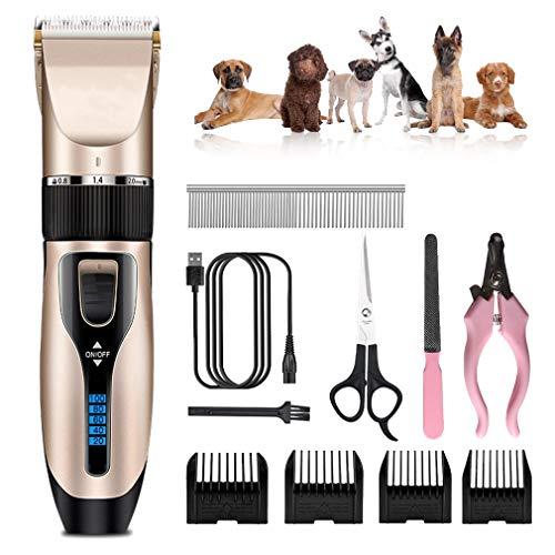 Dog Grooming Clipper Kits Draad- en Low Noise Hair Trimmer Professional Pet scheerapparaat set USB oplaadbare Grasmaaier voor katten Cordless Hair Clipper Rozor met Limit Comb,B