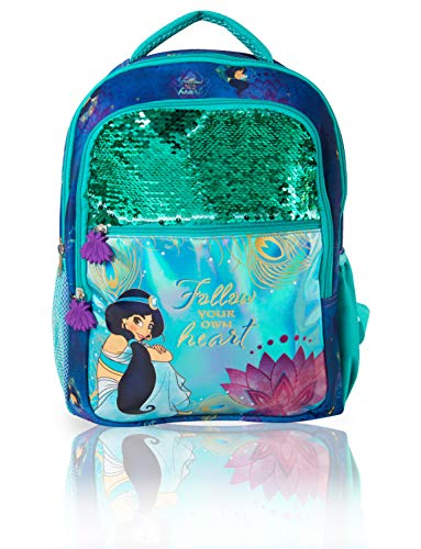 Disney Girls Backpack | Aladdin Movie Follow Your Own Heart Rucksack With Princess Jasmine, Sequins & Holographic Design | Kids Backpack With 2 Large Front Pockets, 2 Side Pockets For School Or Travel