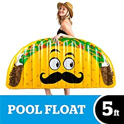Big Mouth Inc Giant Inflatable Taco Pool Floats, Durable Pool Tube with Patch Kit