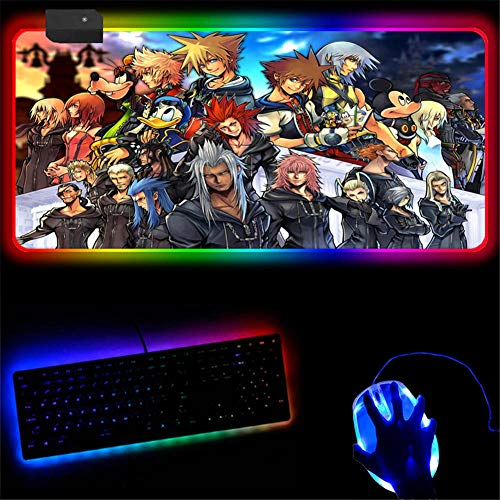 Mouse Pads 90X40Cm Extended Large RGB Gaming Mouse Pad Anime Kingdom Hearts Mousepad Increase Speed Durable Stitched Edges Thick Rubber Keyboard Pad Waterproof Glowing Wireless Mouse Mat Gamer 2XL C