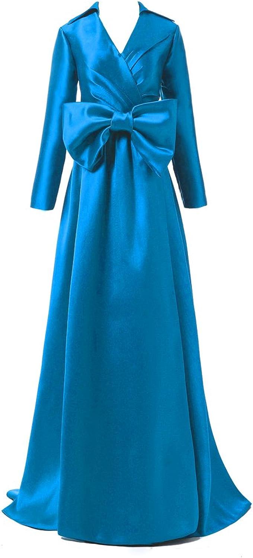 Alexzendra Women's Dark Green Formal Evening Dresses Long Sleeves Prom Dresses V Neck