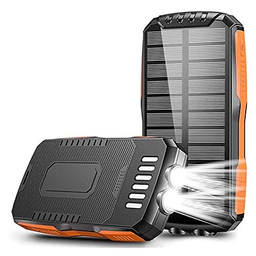 DXH Cargadores de Banco Power Power Portable, Banco de energía Solar de 25000mAh Cargador de batería Externo de Carga rápida portátil de Powerbank para iPhone iPad Samsung Xiaomi DIRIGIÓ Pobrebano