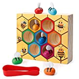 SGVV90 Toddler Fine Motor Skills Toys-Clamp Bee to Hive Matching Game-Wooden Color Sorting Toy for Toddler Montessori Preschool Learning Toys Gift for Children Kids