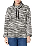 Chaps Women's Petite Pull Over Cowl Neck Long Sleeve Sweater, Black Multi, PM