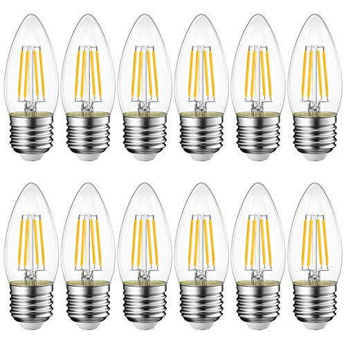 Lampadina Filamento LED E27,4W Equivalenti a 40W, 470Lm, Luce Bianca Calda 2700K, LVWIT C35, Forma a Candela, Pacco da 12 Pezzi, Non dimmerabile