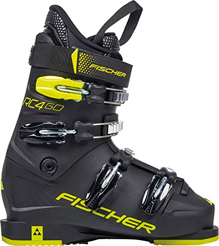 FISCHER Unisex Jugend, schwarz/gelb, Junior Skischuhe RC4 60 JR Thermoshape, 23.5, 235