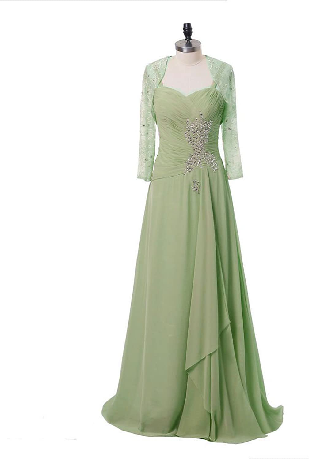 DINGZAN Long Mother of the Bride Dresses with Lace Long Sleeves Jacket