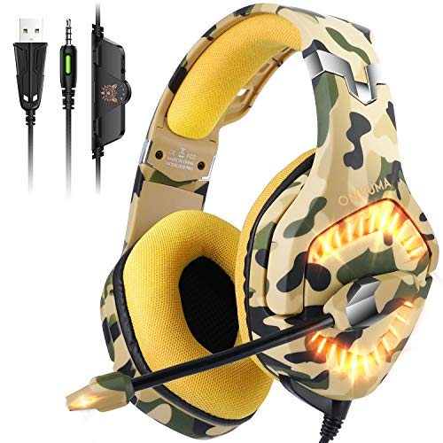 ONIKUMA Auriculares Ps4, Cascos Xbox One con Sonido Envolvente, Luz LED y Micrófono...